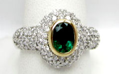 Emerald and Pave'Dia Ring