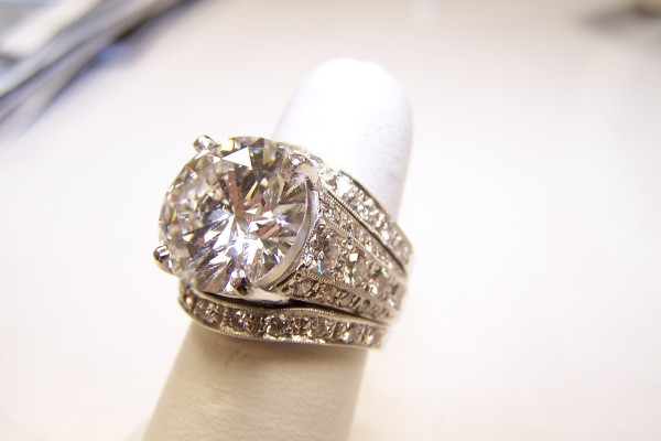 Diamond ring on finger