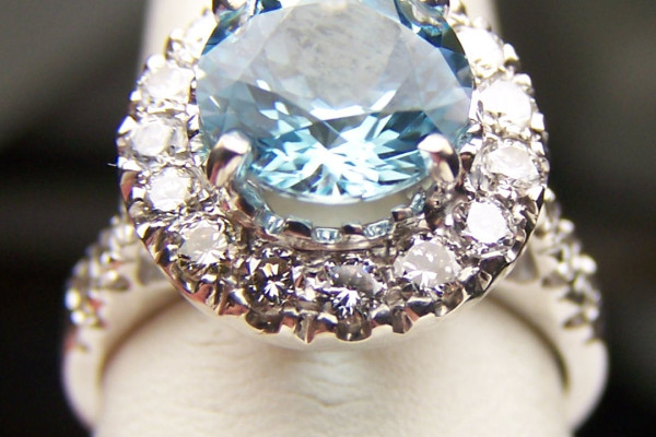 Gemstone ring close up